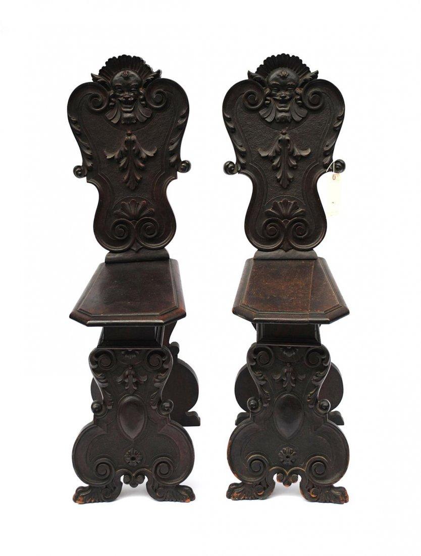105: Pair of Italian Renaissance Revival Hall Chairs