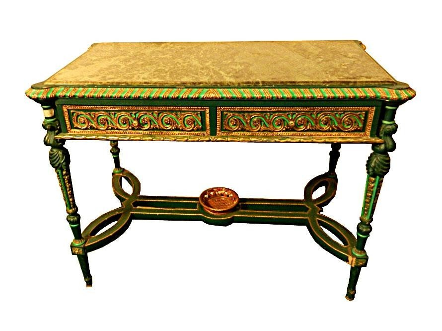 114: Marble Top French Style Writing Desk