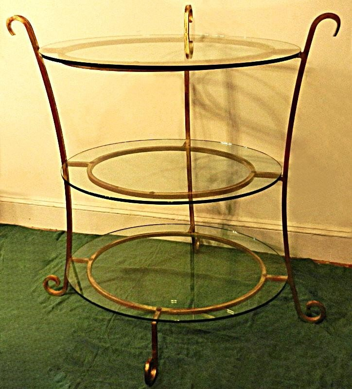 115: 3 Tier Iron and Glass Baker's Table