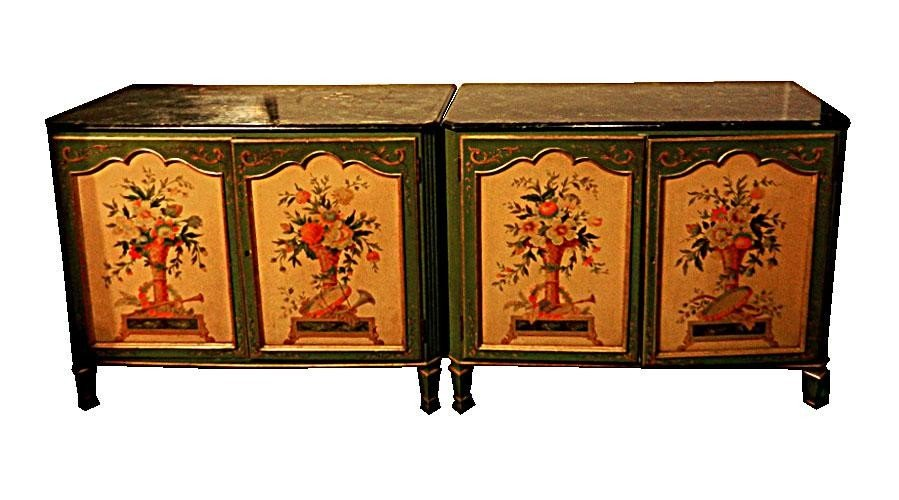 119: Pair of Painted Floral Faux Marble Top Chests