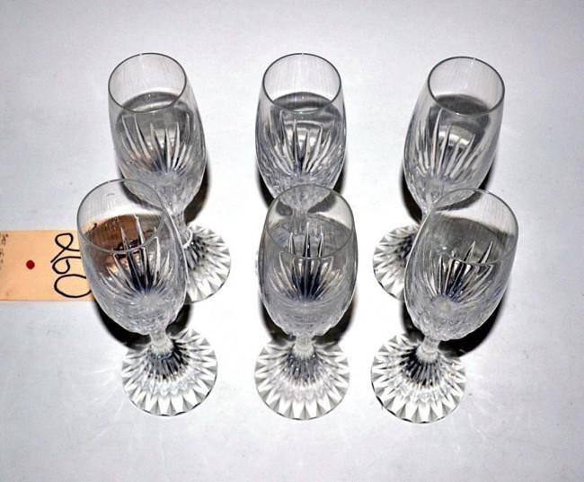 217: Set of 6 Modern Baccarat Crystal Champagne Flutes
