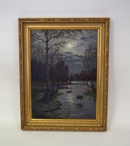 368: Boem Painting, Evening River Landscape