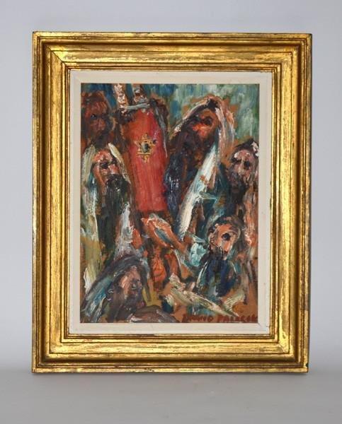 369: David Pallack, Oil on Masonite, Rabbis