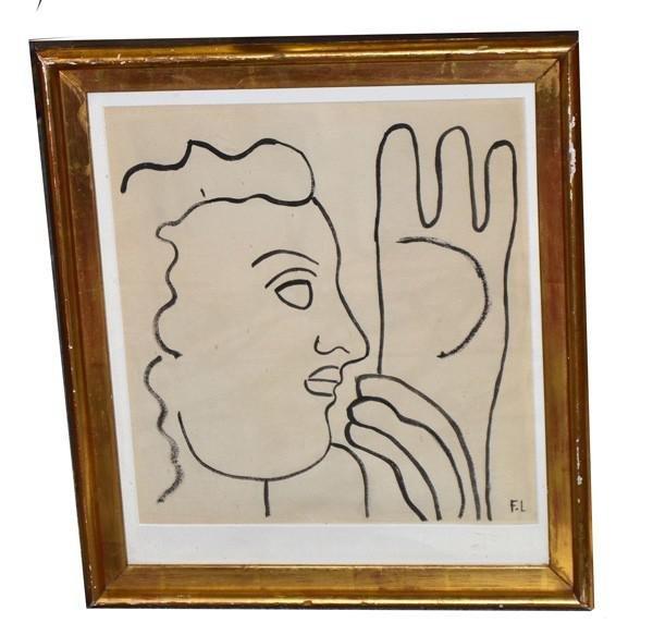 """370: Conte Crayon Portrait Signed """"F.L"""""""