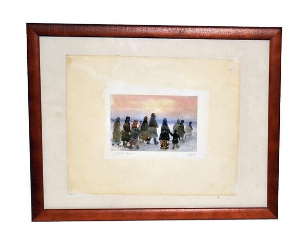 """371: Russian Watercolor Signed """"A.B."""""""