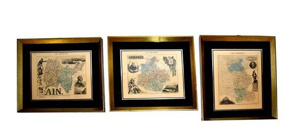372: Group of Three Antique Maps, France