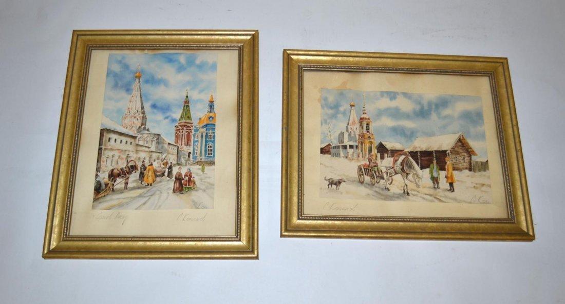 374: C. Koyahob, Pair of Russian Watercolors