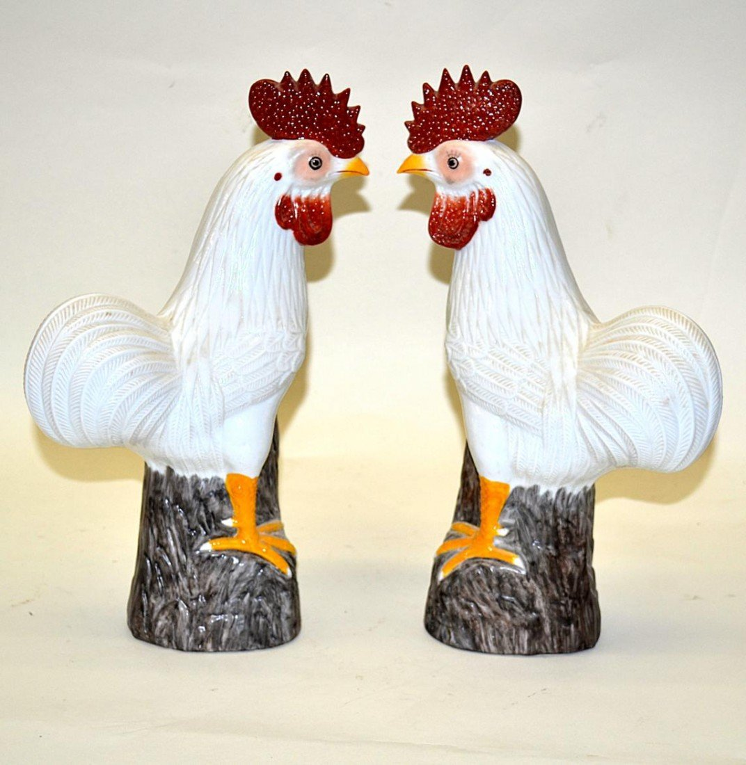 378: Pair of Decorated Chickens