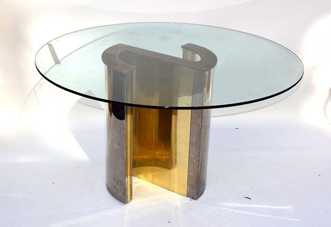 616: Modern Brass & Chrome Center Table