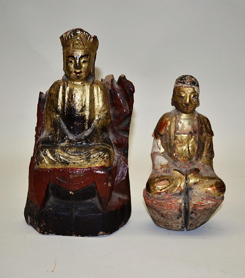 110: Two Buddha Sculptures