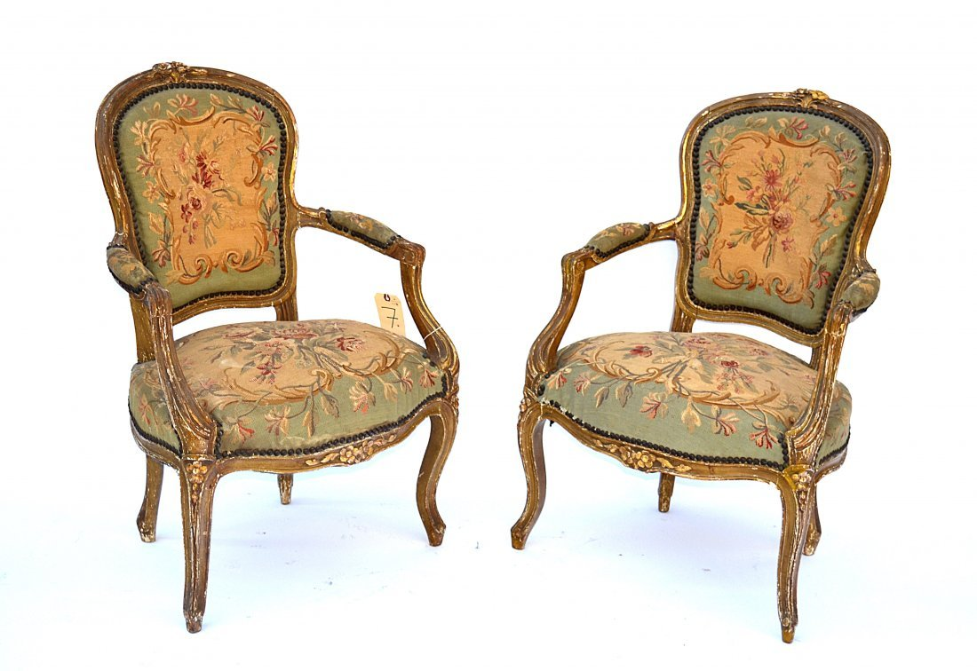 7: Pair of 19th C. Louis LXV-Style Open Arm Chairs