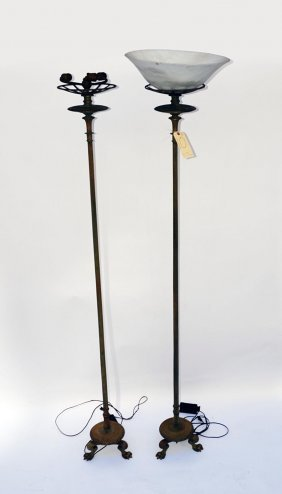 10: Pair of Bronze 19th C. Charles X Torchieres
