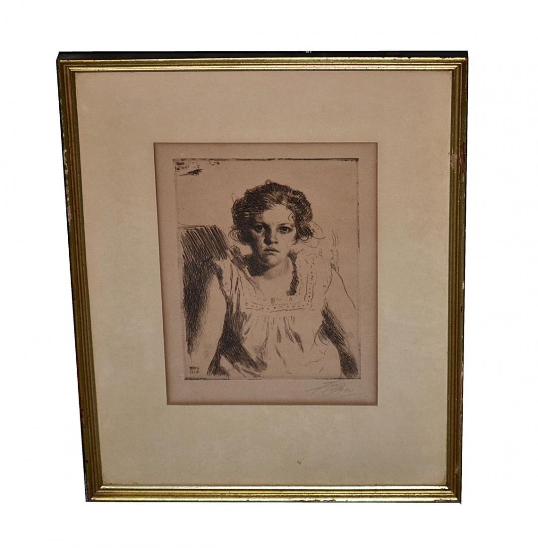 124: Anders Zorn Etching - Frida (1914)