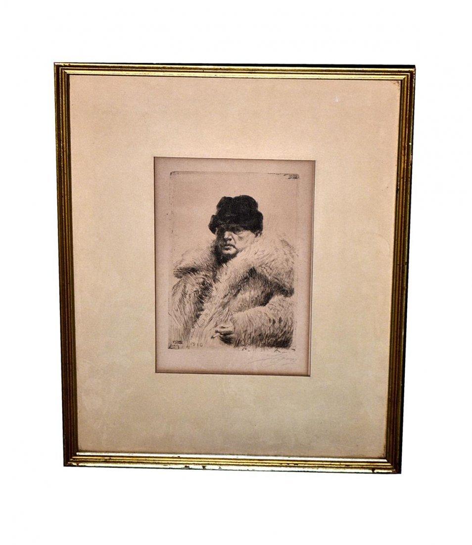125: Anders Zorn Etching, Self Portrait