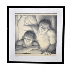 George Tooker Lithograph, Couple