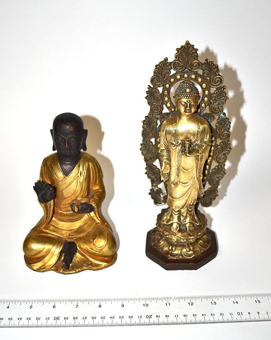 190: Two Asian Bronze Buddha Sculptures