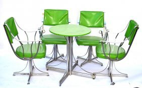 "Set Of Four Modern ""Contempo"" Arm Chairs & Table"