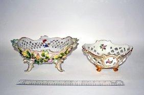 17: Two Continental Porcelain Centerpiece Bowls