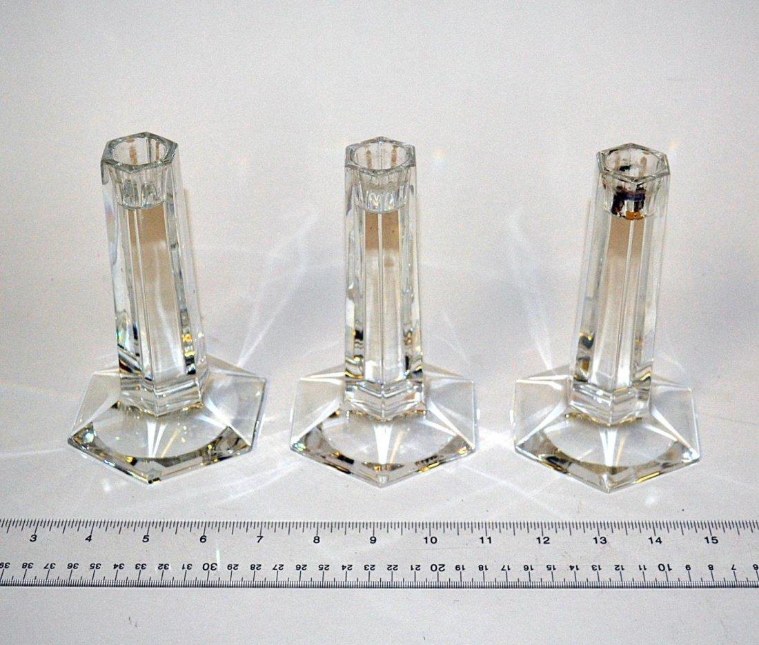 18: Three Tiffany Crystal Candlesticks