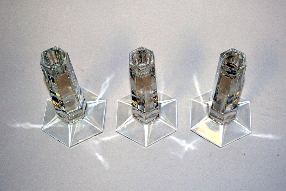 18: Three Tiffany Crystal Candlesticks - 3