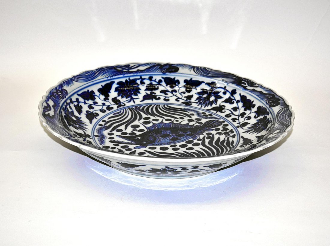 172: Chinese Blue & White Charger, Carp
