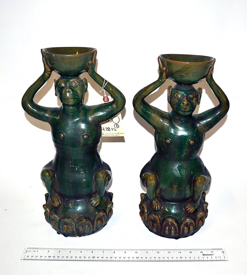 186: Pair of Chinese Green Glazed Monkey Stands