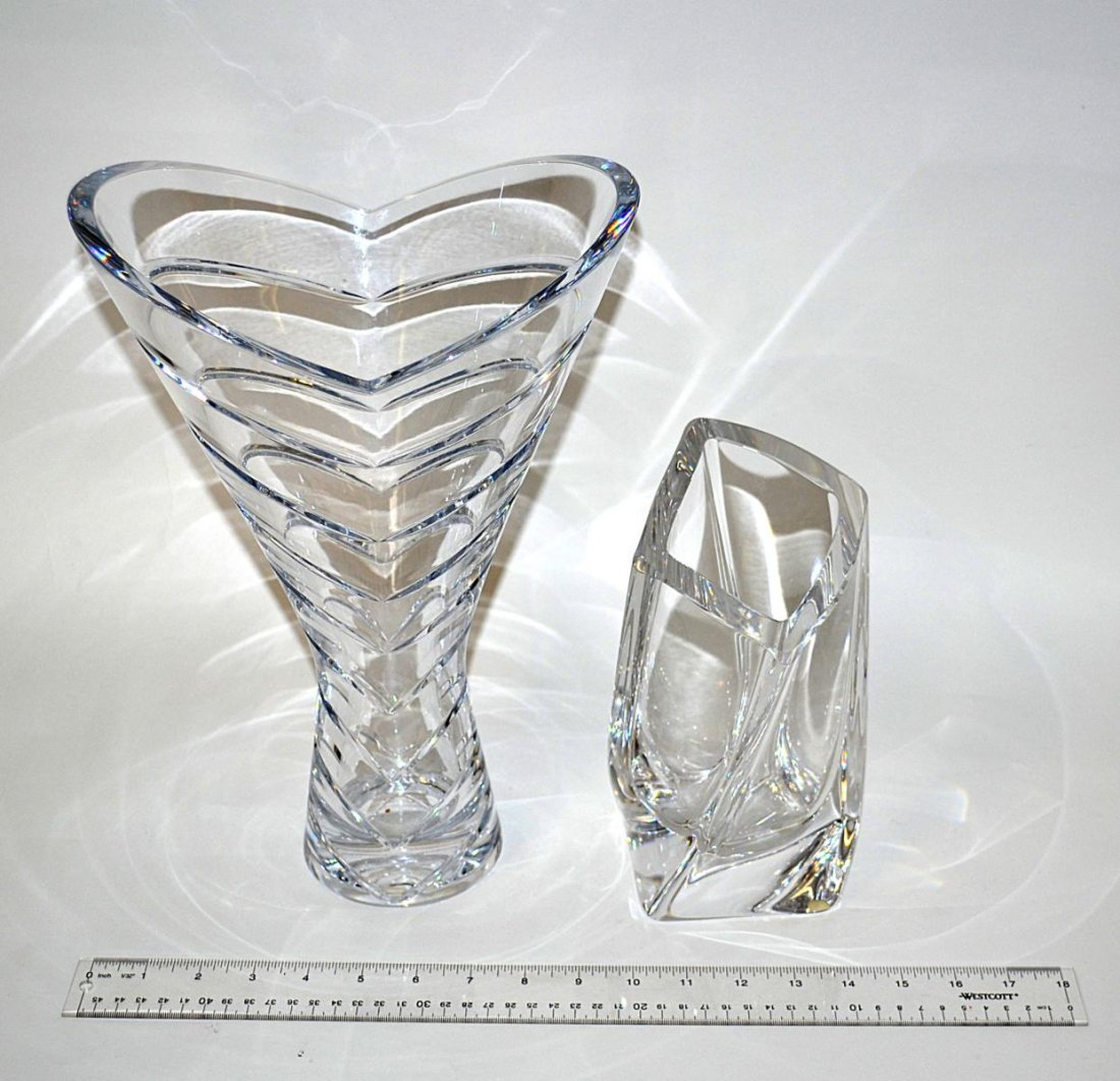 22: Two Art Glass Crystal Vases