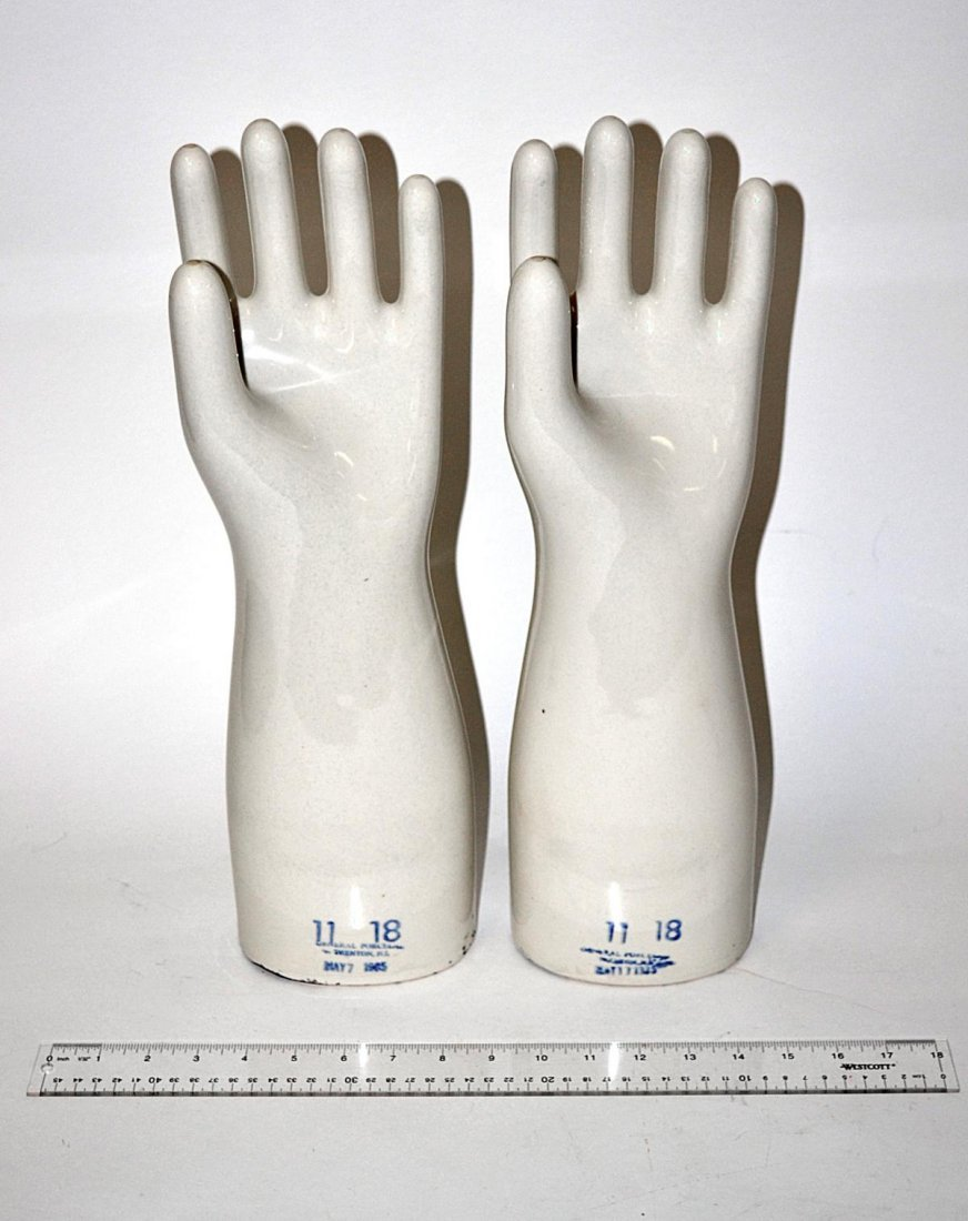 226: Pair of Industrial Porcelain Glove Forms