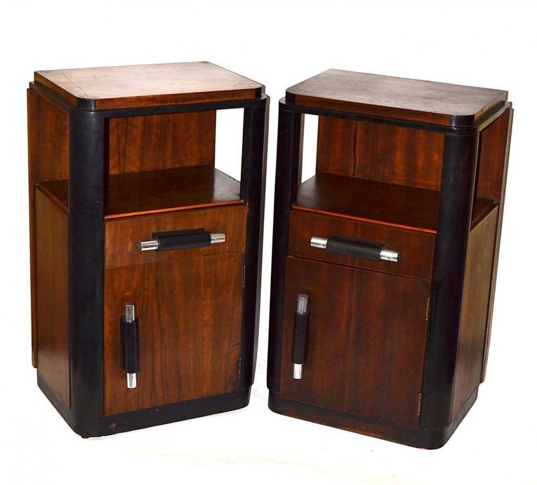 228: Pair of Donald Deskey Art Deco Bedside Tables