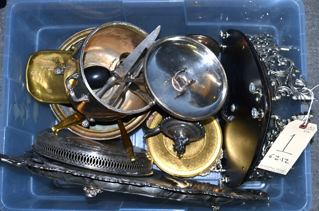 1: Assorted Brass and Silverplate Articles