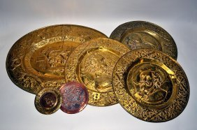 2: Group of Repoussé Brass and Copper Plaques