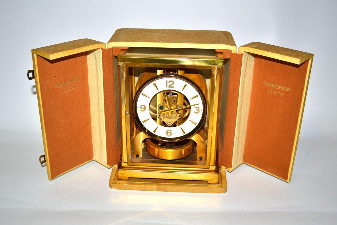 113: Brass Atmos Mantle Clock, Jaeger Le Couture