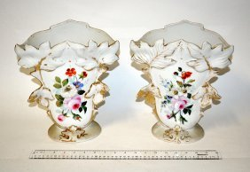 22: Pair of Porcelain Flare Vases