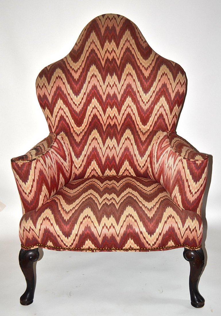 217: Queen Anne Style Walnut Wing Chair