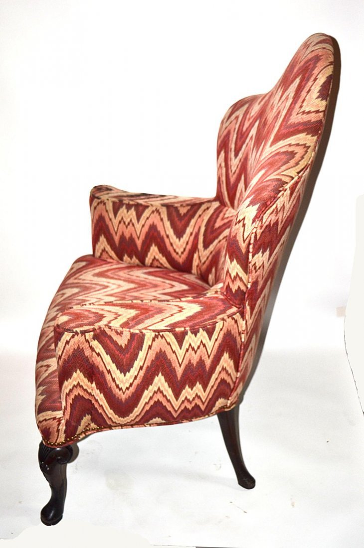 217: Queen Anne Style Walnut Wing Chair - 3