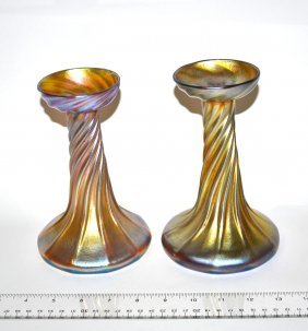 Pair Of Louis Comfort Tiffany Glass Candlesticks