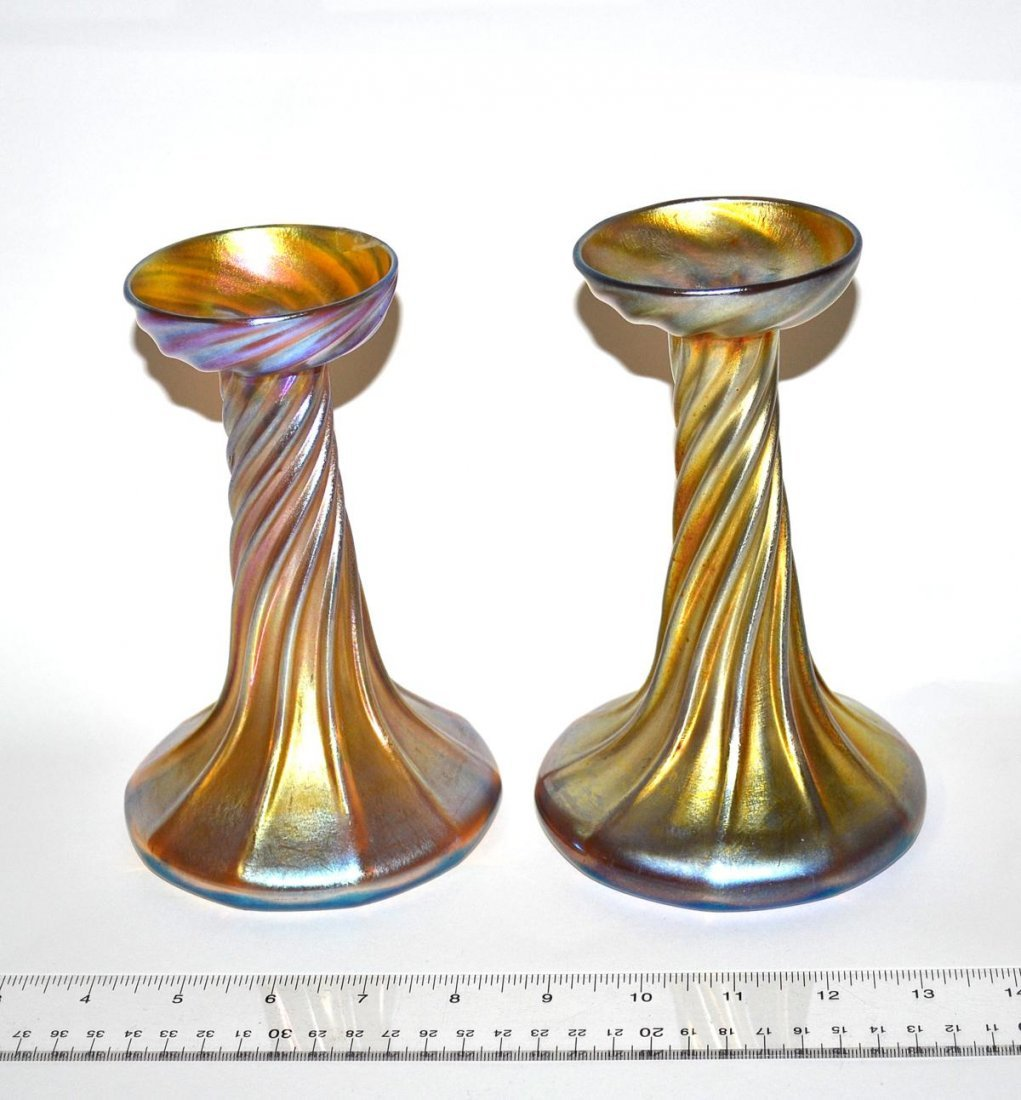 85: Pair of Louis Comfort Tiffany Glass Candlesticks