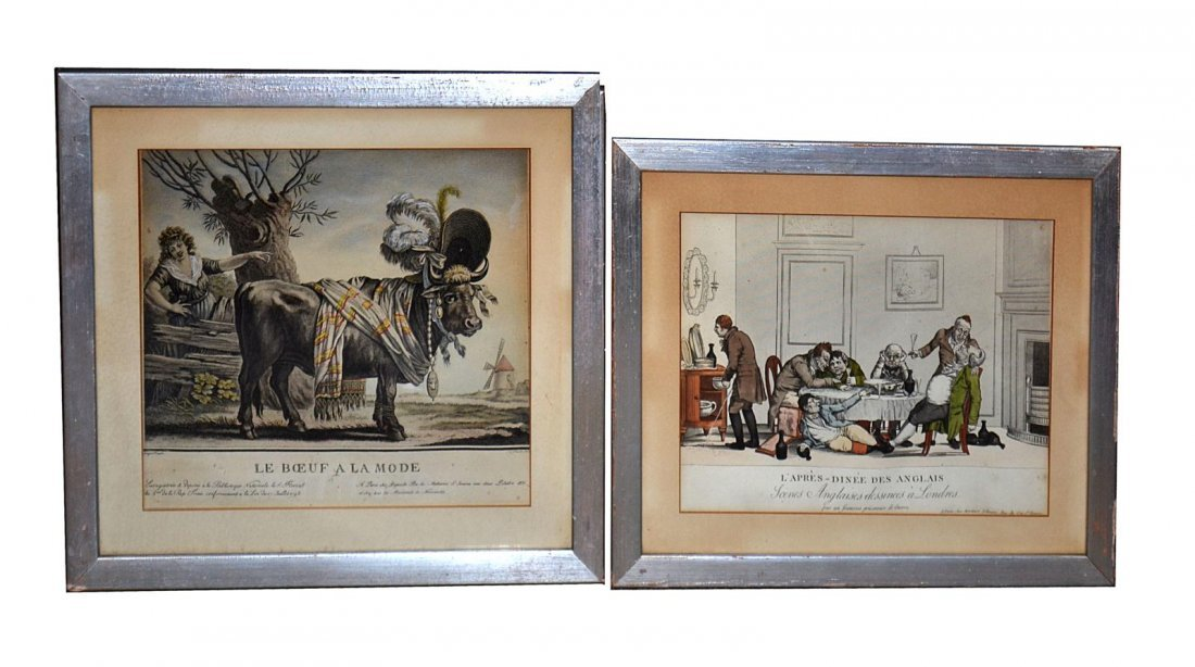 74: Two Framed French Satirical Prints