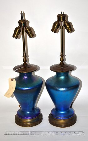 Pair Of Iridescent Blue Glass Table Lamps