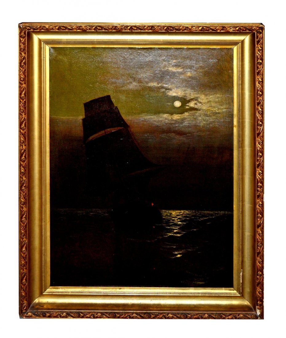 1: Dutch Style Oil on Canvas, Ship with Full Moon