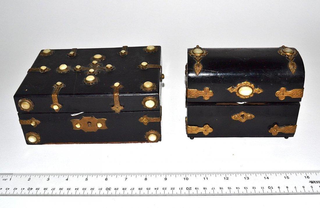 16: Two Ebonized Boxes with Cabochon Mounts