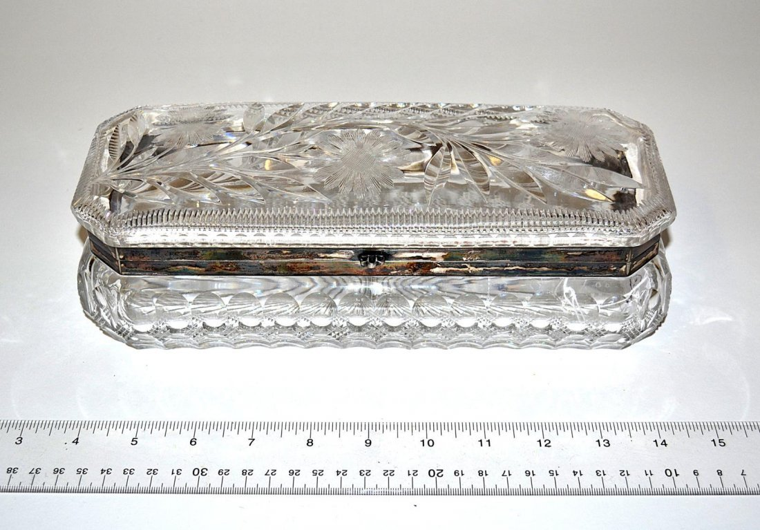 19: Cut Crystal and Sterling Silver Jewelry Box
