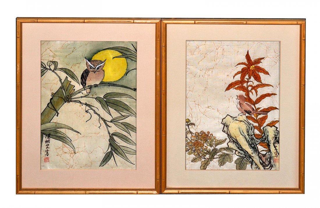 22: Pair of Japanese Bird Prints on Batik
