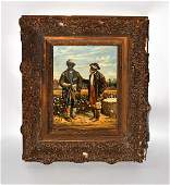 45 Vintage Oil On Board  Cotton Pickers