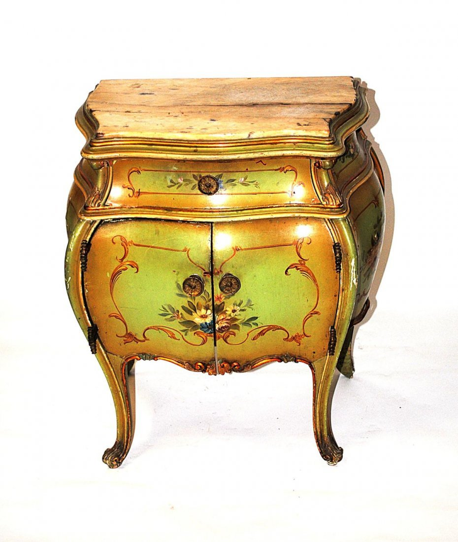 15R: Venetian Painted Marble Top Night Stand