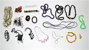 485: Assorted Colored Glass & Beaded Costume Jewelry