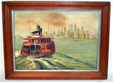 826 Oil on Board Staten Island Ferry
