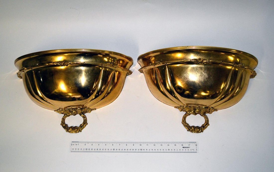 16: Pair of Brass Wall-Mount Planters