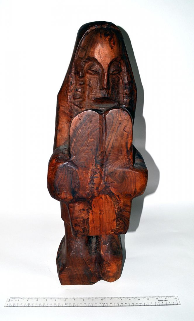 20: Uri Roth Modern Carved Wood Sculpture, Moses