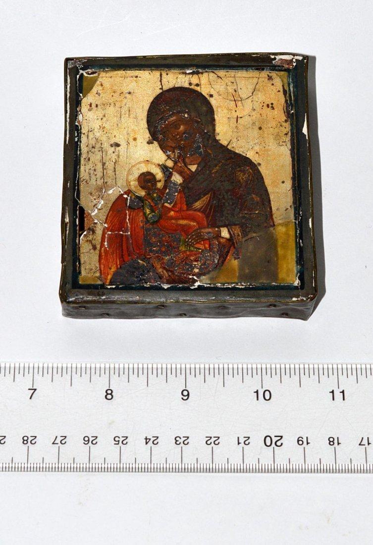 8: Miniature Russian Icon, Madonna & Child